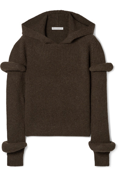 JW Anderson - Hooded Ribbed Wool And Alpaca-blend Sweater - Army green