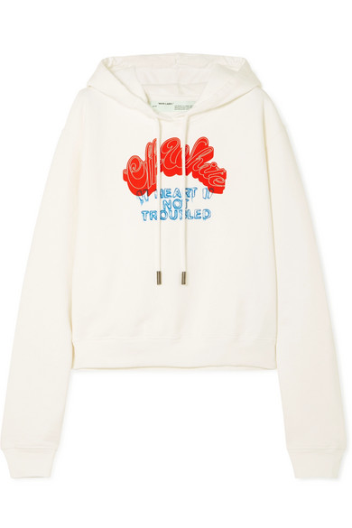 Printed Cotton Jersey Hoodie by Off White