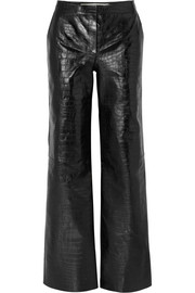 Off-White Croc-effect leather wide-leg pants