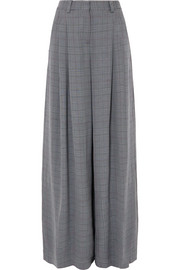 Galles checked woven wide-leg pants