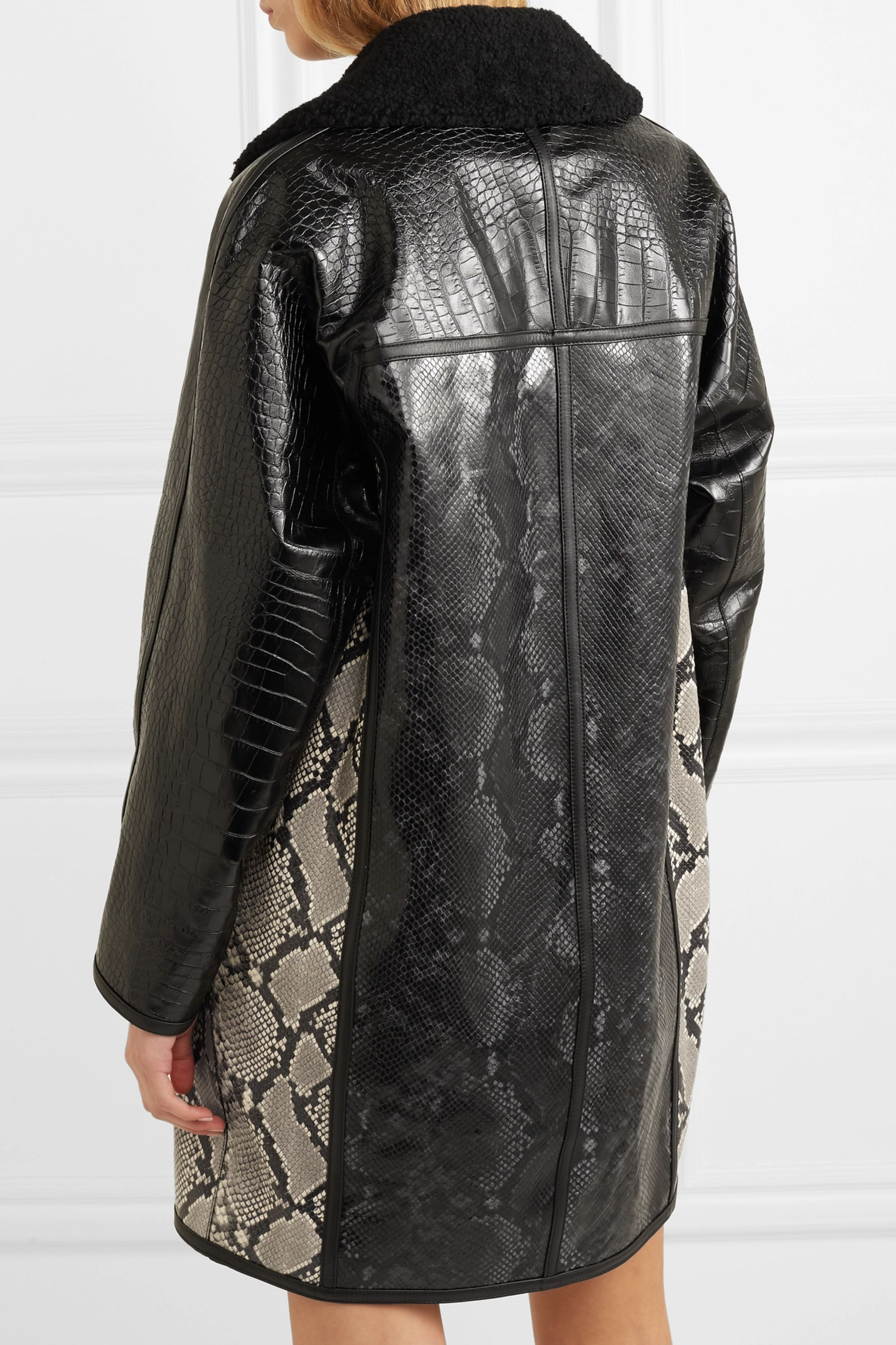 Off-White Shearling-trimmed snake and croc-effect leather coat