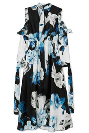 Off-White Cold-shoulder floral-print silk-moire midi dress