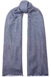 Sequined cashmere and silk-blend scarf