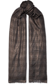 Metallic checked cashmere-blend scarf
