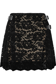 Christopher Kane Pleated flocked lace mini skirt