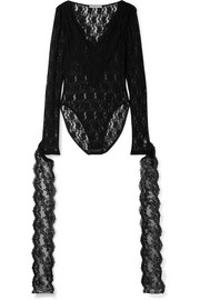 Christopher Kane Tie-detailed embroidered stretch-Chantilly lace bodysuit