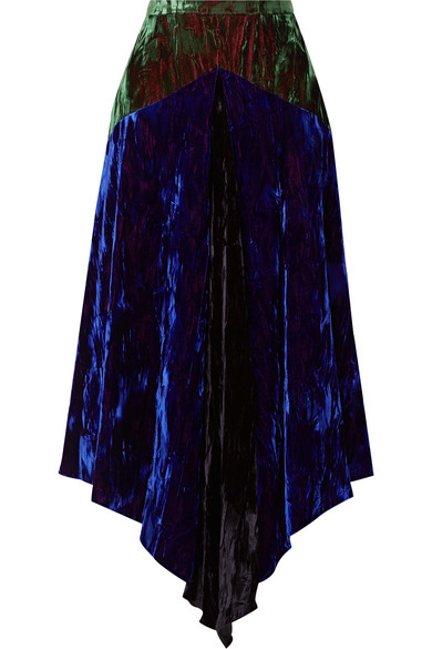 Christopher Kane - Asymmetric Paneled Crushed-velvet Midi Skirt - Blue