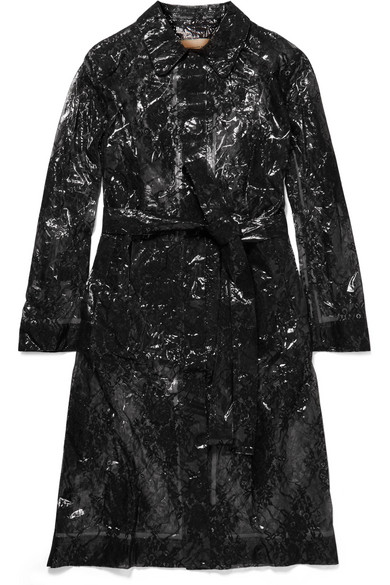 0868afc0848 Lace And Pvc Trench Coat. Double Breasted Iridescent Chiffon Trench Coat. Christopher  Kane