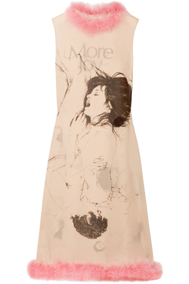 Christopher Kane FEATHER-TRIMMED PRINTED SILK-GEORGETTE MIDI DRESS