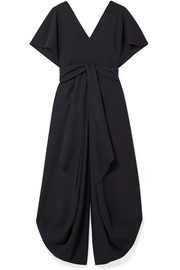 Souela open-back belted wool-crepe midi dress