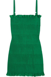 Molly Goddard Lowell ruched seersucker mini dress