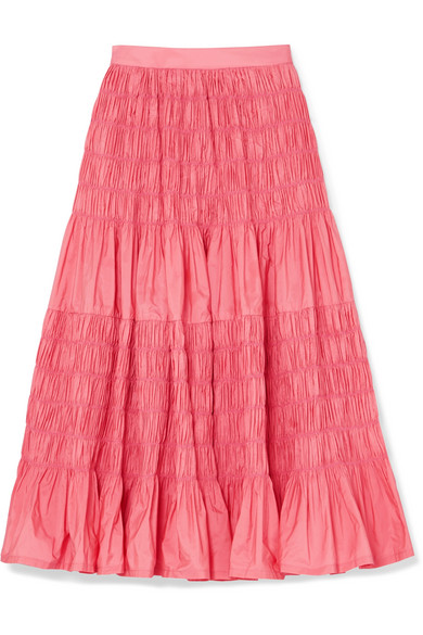Molly Goddard - Helene Tiered Shirred Taffeta Midi Skirt - Pink