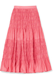 Molly Goddard Helene tiered shirred taffeta midi skirt