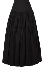 Molly Goddard Liberty tiered cotton-twill maxi skirt