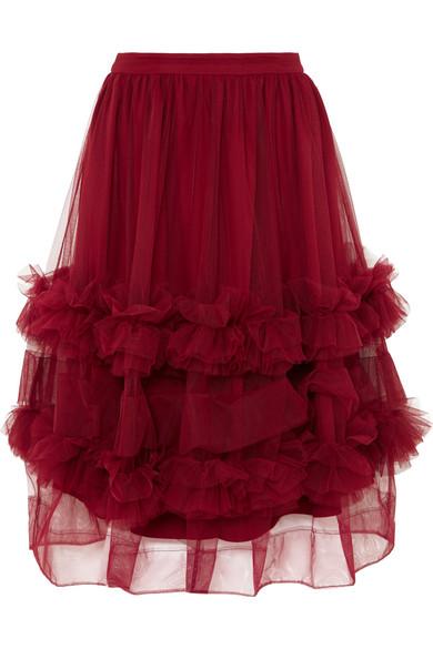 Molly Goddard - Akuac Ruffled Tulle Midi Skirt - Claret
