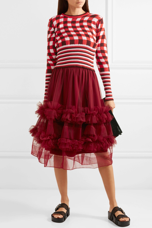 Molly Goddard Akuac ruffled tulle midi skirt