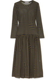 Tegen checked stretch-mesh midi dress