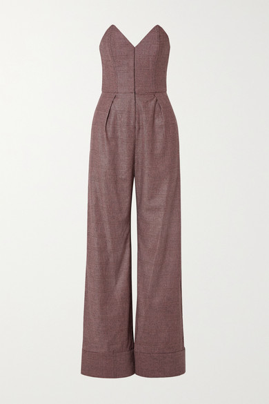 FLEUR DU MAL Strapless Prince Of Wales Checked Tweed Jumpsuit in Pink