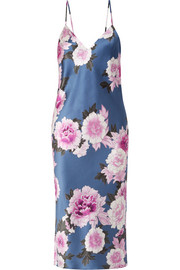 Floral-print silk-satin midi dress