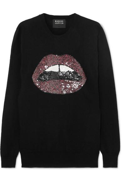 Markus Lupfer - Natalie Sequined Merino Wool Sweater - Black