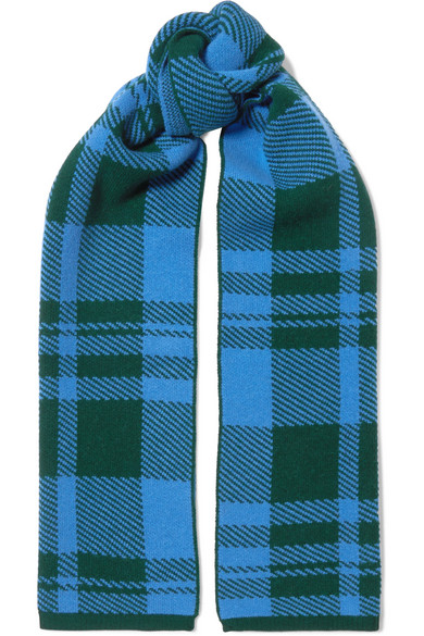 Markus Lupfer - Checked Wool-jacquard Scarf - Blue