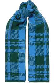 Checked wool-jacquard scarf