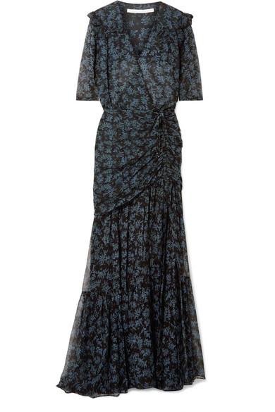 VERONICA BEARD MICK RUCHED SILK CREPE DE CHINE AND CHIFFON MAXI DRESS
