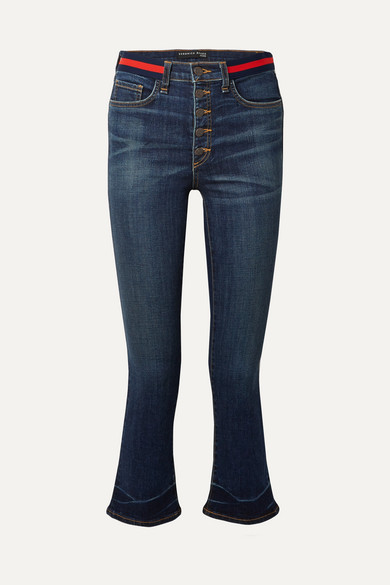 Carolyn Cropped High-Rise Flared Jeans, Blue