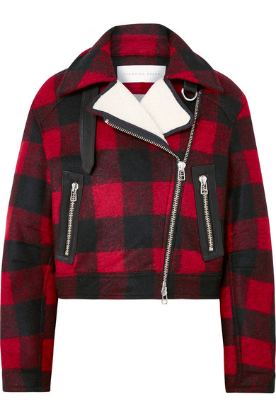 Veronica Beard - Benni Leather And Faux Shearling-trimmed Checked Felt Jacket - Red