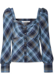 Frankie ruched checked cotton-blend top