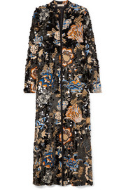 Tory Burch Agnes embellished floral-print crepe maxi dress