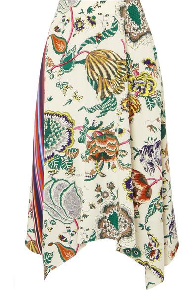 Marie Printed Silk Crepe De Chine Midi Skirt in Neutrals