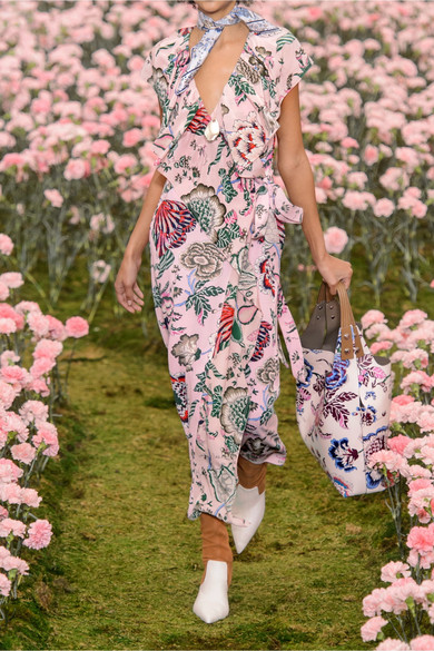 cecb56c3410 Tory Burch. Adelia ruffled floral-print crepe de chine wrap dress. €482.77.  Seasonal pick. Zoom In