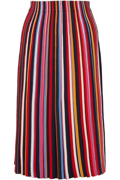 Tory Burch - Ellis Pleated Stretch-knit Midi Skirt - Red