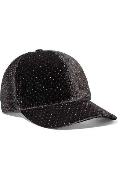 Tiger Bow Crystal-Embellished Velvet Cap, Black