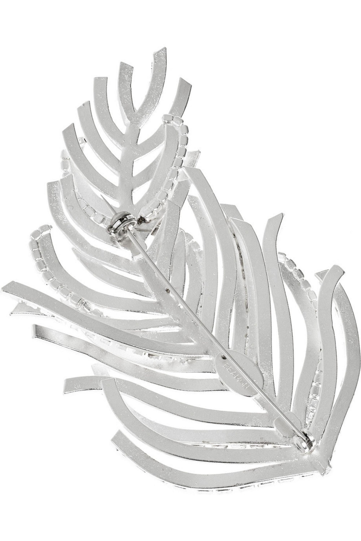 Erickson Beamon Barbie silver-plated Swarovski crystal feather brooch