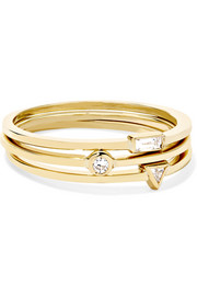 Jennifer Meyer Set aus drei Ringen aus 18 Karat Gold mit Diamanten