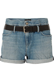 RtA Pierce belted distressed denim shorts