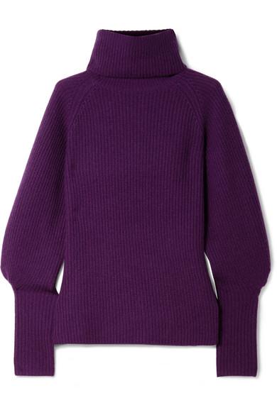 Altuzarra - Arrow Ribbed Cashmere Turtleneck Sweater - Dark purple