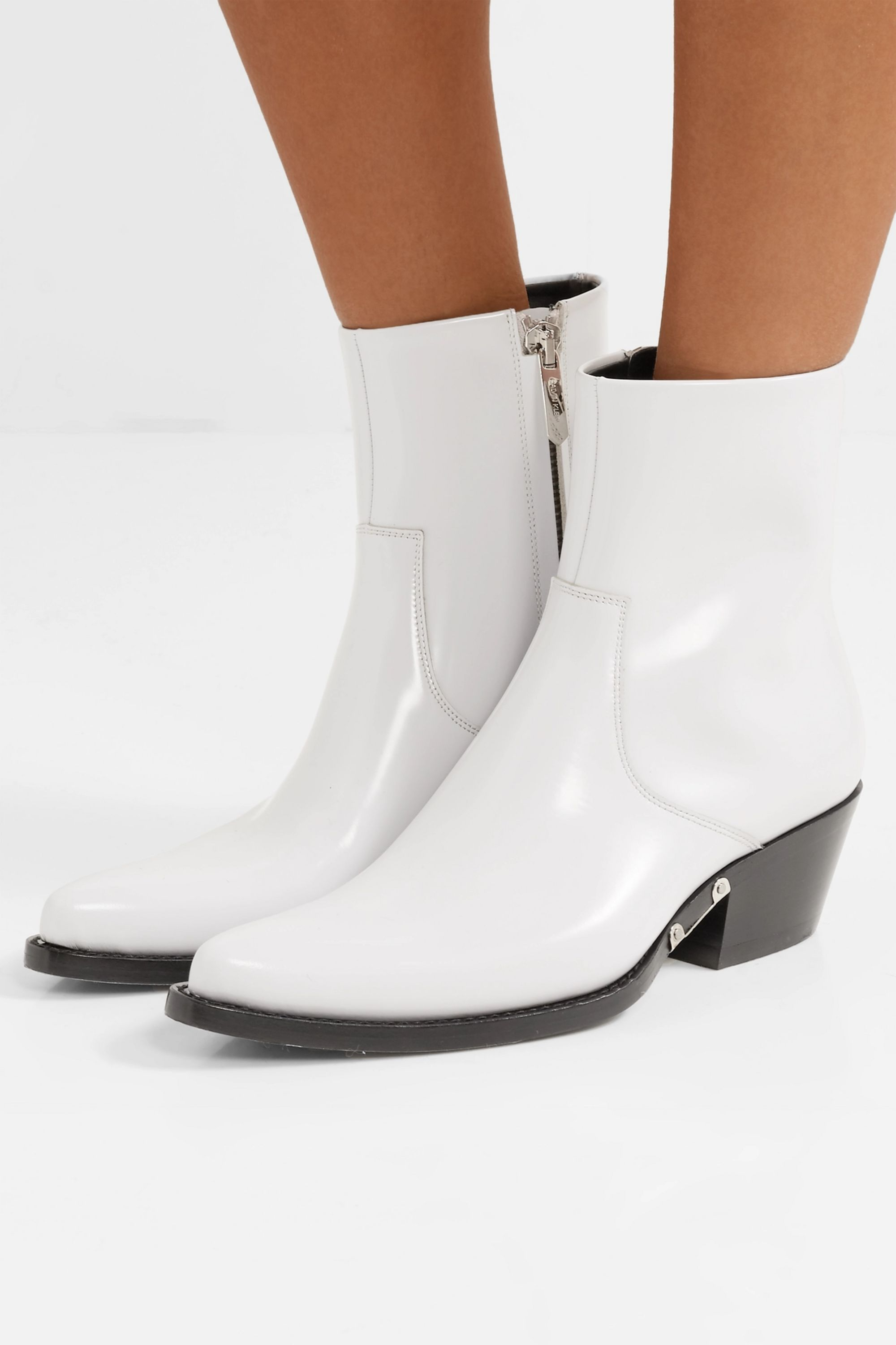 White Tiesa glossed-leather ankle boots