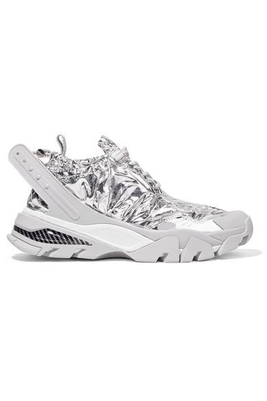 Caramene Metallic Shell And Rubber Sneakers, Grey/ White