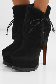Alaïa 165 shearling and suede ankle boots
