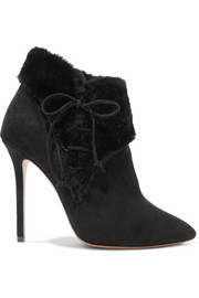 Alaïa 110 shearling-trimmed suede ankle boots