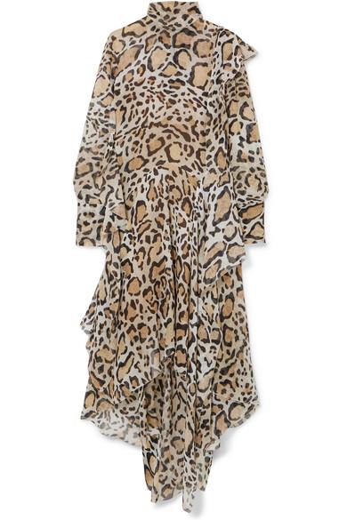 Petar Petrov - Leopard-print Chiffon Midi Dress - Leopard print
