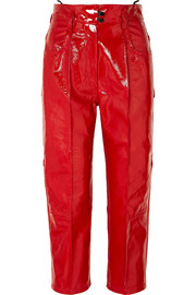 Cropped patent-leather straight-leg pants
