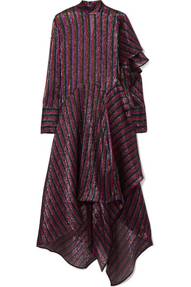 Petar Petrov - Asymmetric Striped Metallic Silk-blend Dress - Plum