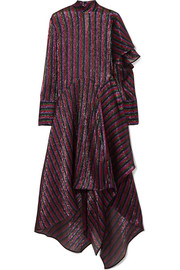 Petar Petrov Asymmetric striped metallic silk-blend dress