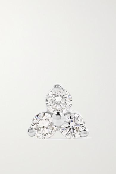 Trinity 18-Karat White Gold Diamond Earring