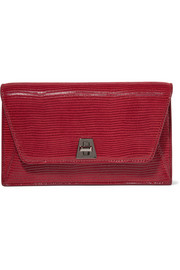 Anouk Envelope lizard-effect leather clutch