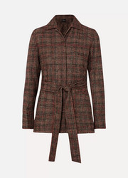Belted checked wool jacket